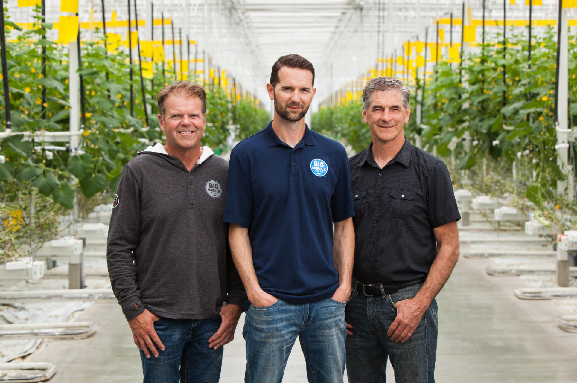 From left to right, Big Marble Farms partners Rick Wagenaar, Ryan Cramer (CEO), and Albert Cramer