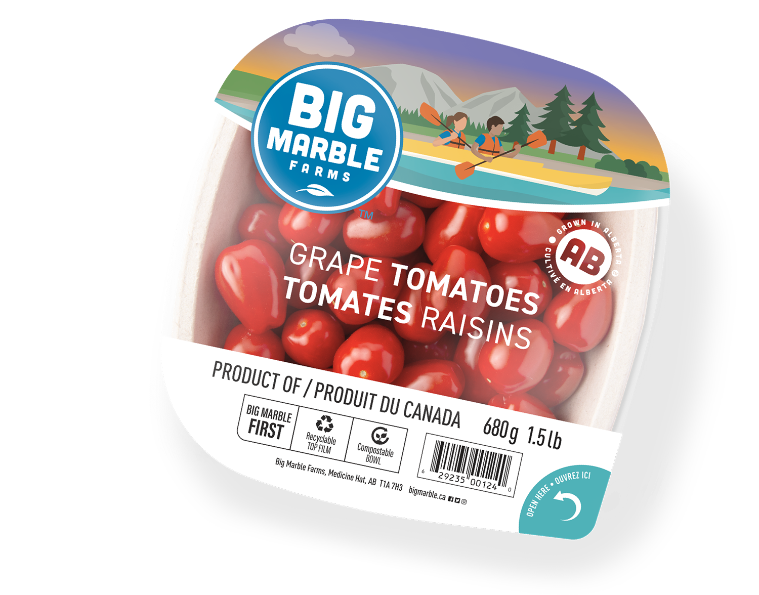 Grape tomatoes in top seal package
