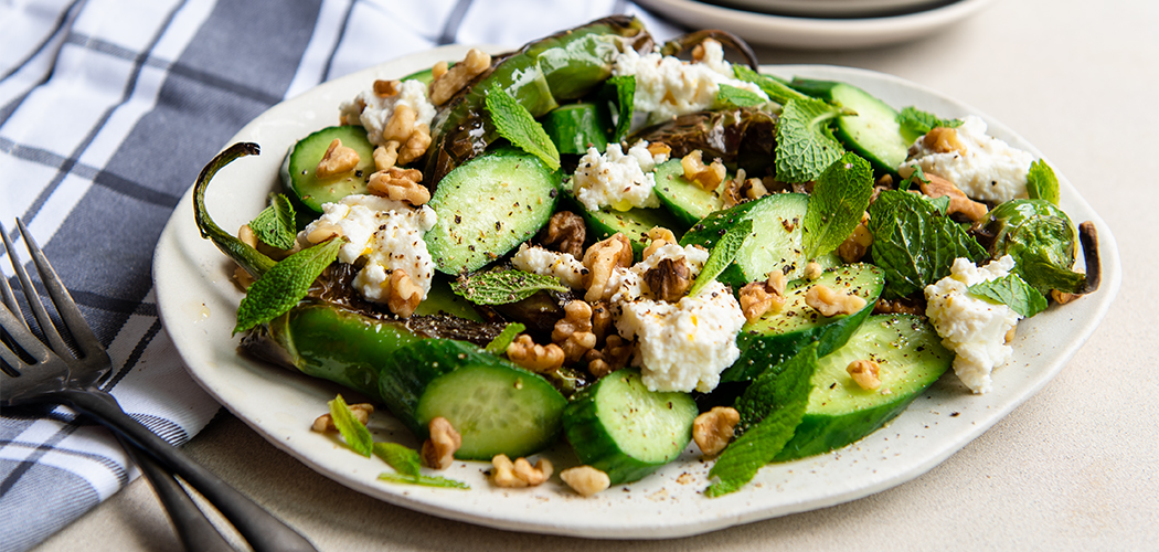 Charred Peppers with Ricotta and Cucumbers