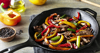 Skillet fried peppers and beef