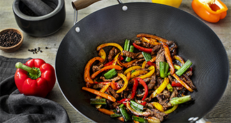 Wok fried peppers and beef